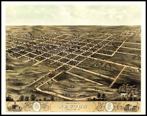 Newton 1868 Panoramic Drawing
