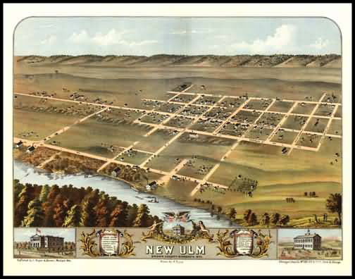 New Ulm 1870 Panoramic Drawing