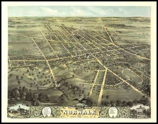 Norwalk 1870 Panoramic Drawing