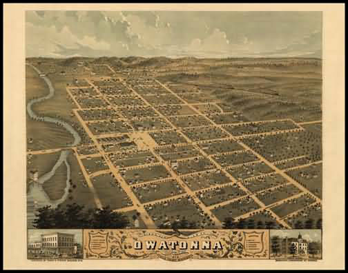 Owatonna 1870 Panoramic Drawing