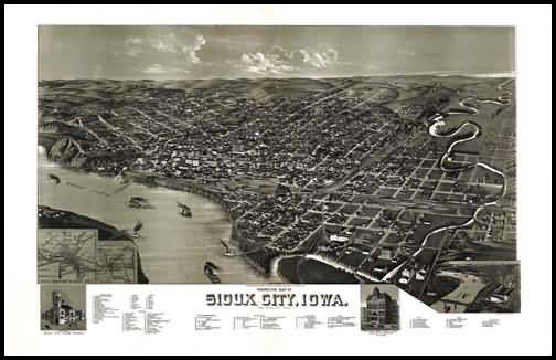 Sioux City 1888 Panoramic Drawing