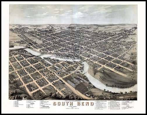 South Bend 1874 Panoramic Drawing