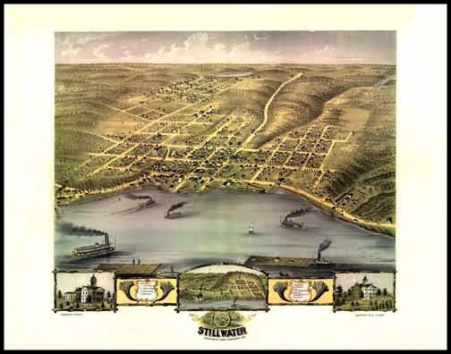 Stillwater 1870 Panoramic Drawing