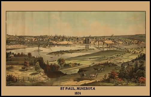 St. Paul 1874 Panoramic Drawing
