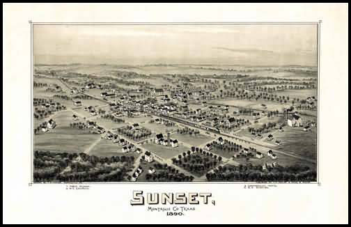 Sunset 1890 Panoramic Drawing