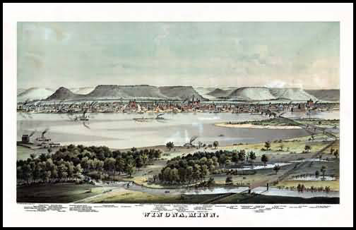 Winona 1874 Panoramic Drawing