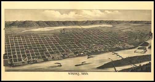 Winona 1889 Panoramic Drawing